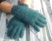 Hand Knitted Felted Tweed Merino Alpaca Gloves Made To Order Unisex