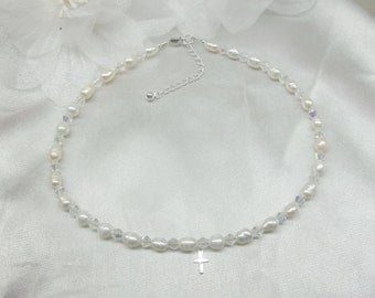 Baptism Necklace Baby Necklace Cross Necklace White Pearl Necklace Clear Crystal Necklace Girls Necklace Sterling Silver Necklace Buy3+1Free
