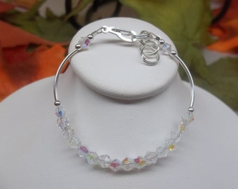 Girls Clear Crystal Bracelet With Swarovski Elements Clear AB Crystal Bracelet Toddler Bracelet Sterling Silver or Plate BuyAny3+1Free