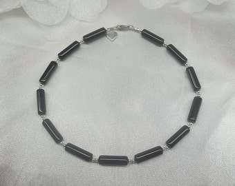 Black Anklet Black Onyx Anklet Black Onyx Ankle Bracelet Silver Heart Anklet 925 Sterling Silver Anklet Summer Jewelry BuyAny3+Get1Free