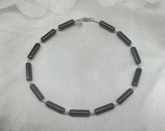 Black Onyx Anklet Black Onyx Ankle Bracelet Silver Heart Anklet 100% 925 Sterling Silver Anklet BuyAny3+Get1Free