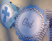 Baptism Banner Light Blue Grey and White Chevron