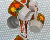 Fun and Colorful Vintage Mushroom Coffee Cups with Stand. 60s or 70s.  Made in Japan