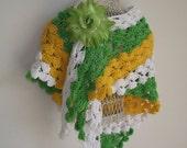 Crochet Shawl boho wrap summer green white and gold scarf
