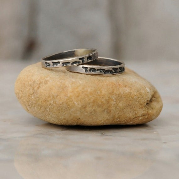Personalized Rings - Thin Stacking Set of Two - Sterling Silver Personalized Rings