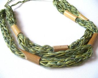 Bamboo necklace knit/cotton necklace fiber art