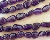 7X11mm A Grade Amethyst Semi-Precious Polished Pebble - Nugget Beads, 15.5 Inch Strand (IND2C68)