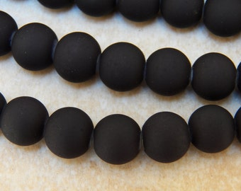 12mm Matte Black Rubber Glass Beads, 25 PC (INDOC304)