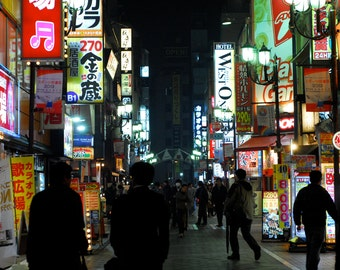 Streets of Tokyo, Nightlife 8x12 Japanese Culture, Tokyo Japan, Night Lights, Fine Art Photography