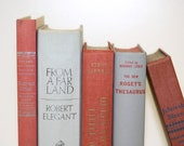 Vintage Book Collection By Color Grey Pink Salmon Home Decor - jaysworld