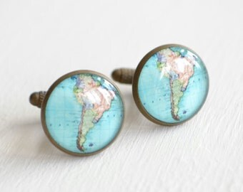 Map Cufflinks - South America, brass cufflinks, Vintage Map Jewelry Accessories