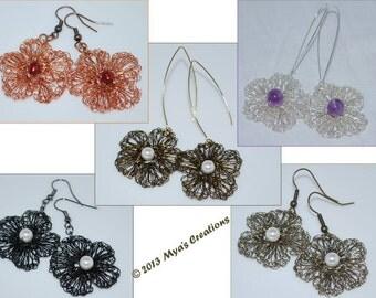 PDF Crocheted Wire Flower Earrings Tutorial, How to make a crochet wire flower earrings, Floral Earrings Tutorial
