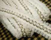 Ivory Lace Trim with Pearl and Sequins, Luxury Beaded Lace Trim with Pearl for Wedding Dress Bridal Sash Costume Design