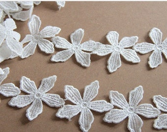 White Lace Trim, Daisy Lace Trim , Flower Lace Fabric Trim