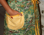 Apron Green and Yellow farm print half apron