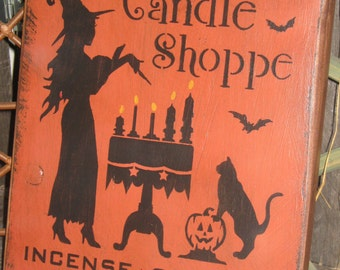 """Primitive Lg Holiday Wooden Hand Painted Halloween Salem Witch Sign -  """" Wicked Wick's Candle Shoppe """"  Country  Rustic Folkart"""