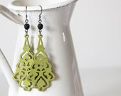 Long Olive Green Wooden Dangles With Small Black Bead
