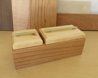 Small Wooden Box From Oak, Yellow Pine and Bamboo