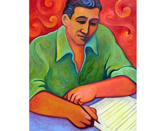 Original 24x30 portrait of Leonard Bernstein from published kids book  paintings by Elizabeth Rosen