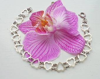 Silver Heart Bracelet, Sterling Silver Link Heart Bracelet, UK Seller
