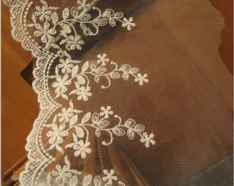 ivory Lace Trim, Embroidered floral lace, scalloped lace trim, tulle lace trim