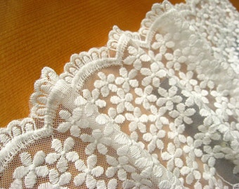 ivory lace fabric, embroidered tule lace trim, scalloped lace trim, embroidered mesh lace trim, daisy lace trim
