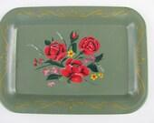 Vintage TOLEWARE Mini Green Tray