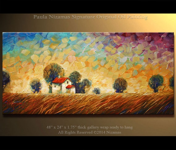 ORIGINAL Abstract Contemporary  Landscape Oil Painting Heavy Palette Knife Texture by Paula Ready to Hang 48""