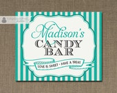 "Turquoise Stripe Candy Bar Sign 8x10"" Welcome Sign Bridal Shower Wedding Buffet Food Table Printable 8x10 DIY Digital or Printed- Madison"