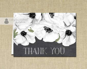 Anemone Thank You Card Chalkboard INSTANT DOWNLOAD Bridal Shower Folded Thank You Note Card Notecard Blank Inside Digital or Printed - Leona