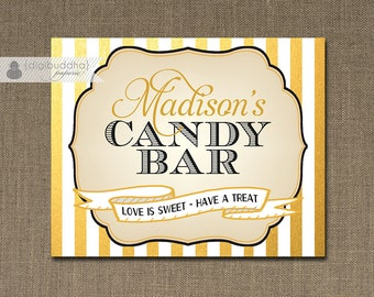 Gold Stripes Candy Bar Sign Wedding Bridal Shower Metallic Striped Buffet Food Table Sign Printable 8x10 DIY Digital or Printed - Madison
