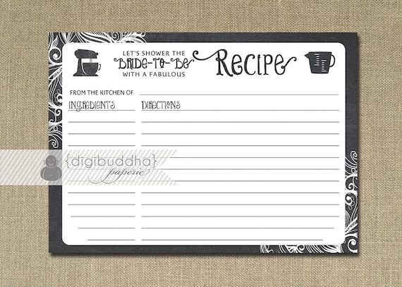 Recipe Card Instant Download Chalkboard Black White Bridal