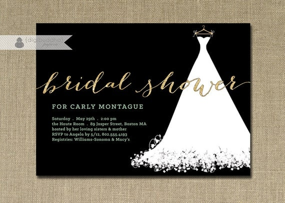 Gold Glitter Bridal Shower Invitation Wedding Gown Mint Green – Wedding Dress Shower Invitations