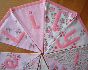 Personalised banner, name bunting. Per flag. Baby girl. Christening. Fabric. Pink floral. Applique hearts, butterflies.