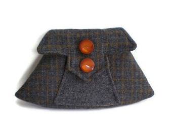 1940's Vintage Inspired Clutch Bag Charcoal Grey Gray and Orange Check Harris Tweed Purse
