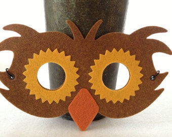 Felt Owl Mask - Halloween Mask - Pretend Play Owl Costume