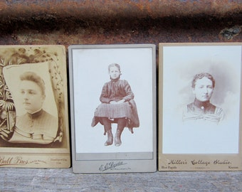 Collection of 3 Antique Photographs Large Cabinet Cards 3 Victorian Women Pictures Black White Photos