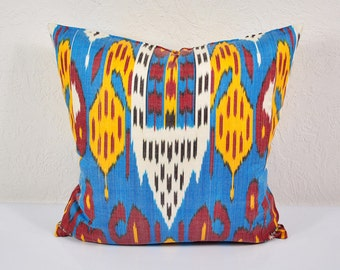 "Ikat Pillow, Chorsu Bazaar 20"" Ikat Pillow Cover - P_A488-1aa3, Ikat throw pillows, Designer pillows, Decorative pillows, Accent pillows"