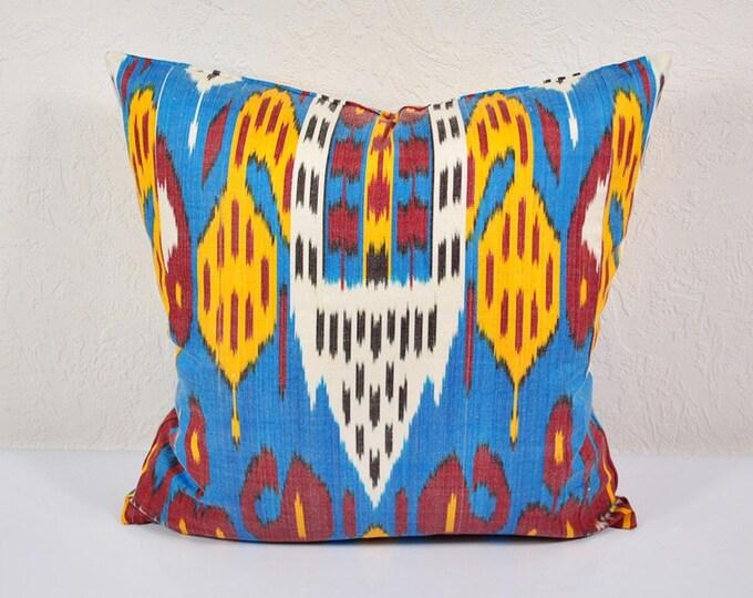 """Ikat Pillow, Chorsu Bazaar 20"""" Ikat Pillow Cover - P_A488-1aa3, Ikat throw pillows, Designer pillows, Decorative pillows, Accent pillows"""