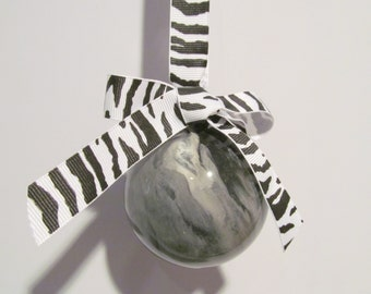 Medium Black and White Painted Glass Ornament