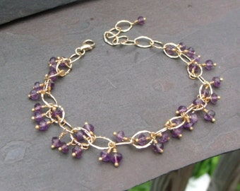 Amethyst Dangle Bracelet in 14 kt Gold Filled - adjustable