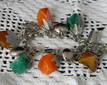 Vintage Chunky Charm Bracelet leaf silver tone