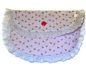 White and Pink rose bud Small clutch purse with white      eyelet and pink snap closure