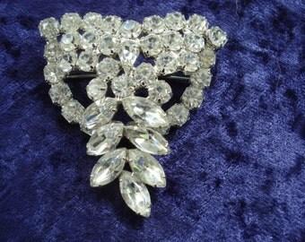 Unique AUSTRIAN CRYSTAL BROOCH  - Clear Crystal Stones - Large Brooch