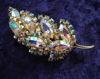 Vintage SPARKLING  LEAF BROOCH - Aurora Borealis - Iridescent Austrian Crystal - Rhinestones