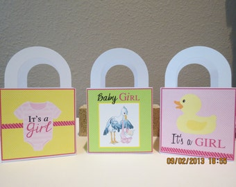 """3"""" x 3"""" It's A Girl Favor/Gift Bags (Set of 12)"""