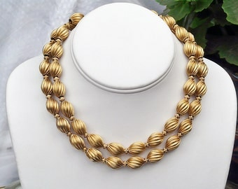 vintage Monet double strand 12K plated spiral bead choker