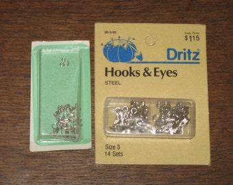 Vintage Dritz Metal Hooks and Eyes Fasteners Steel Sewing and Crafts