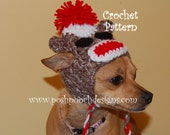 Instant Download Crochet Pattern - Sock Monkey dog hat with Ear flaps - Small Dog Beanie
