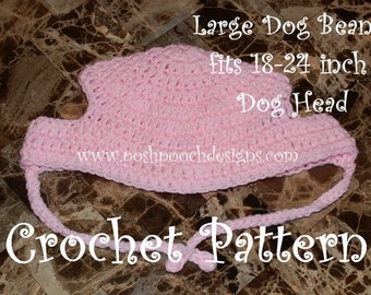 Instant Download Crochet pattern - Large Dog Beanie Hat 18- 24 inches